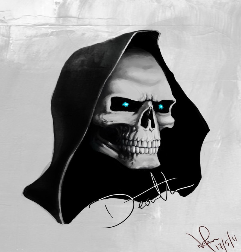 Evil blue-eyed death skull in black hood tattoo design