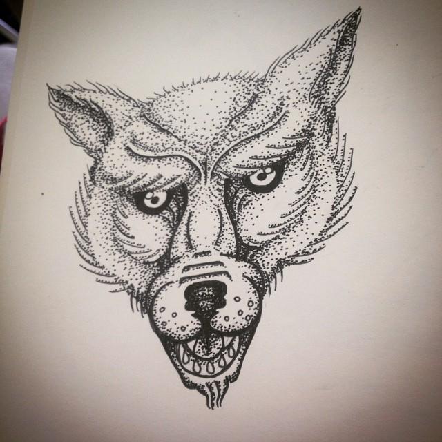 evil cartoon white wolf muzzle tattoo design. Black Bedroom Furniture Sets. Home Design Ideas