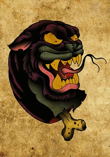 Evil colorful new school panther with neck bone tattoo design