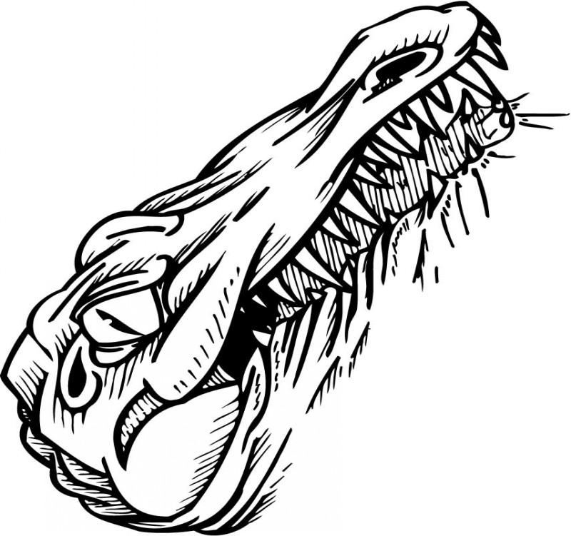 Evil colorless reptile head tattoo design