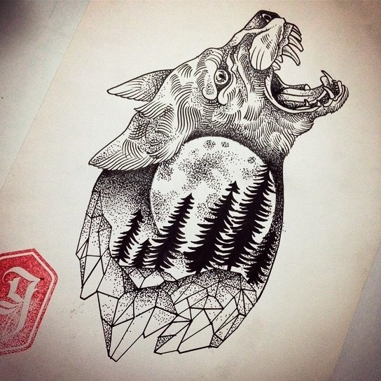 Evil crying wolf with full moon and trees pattern inside tattoo design