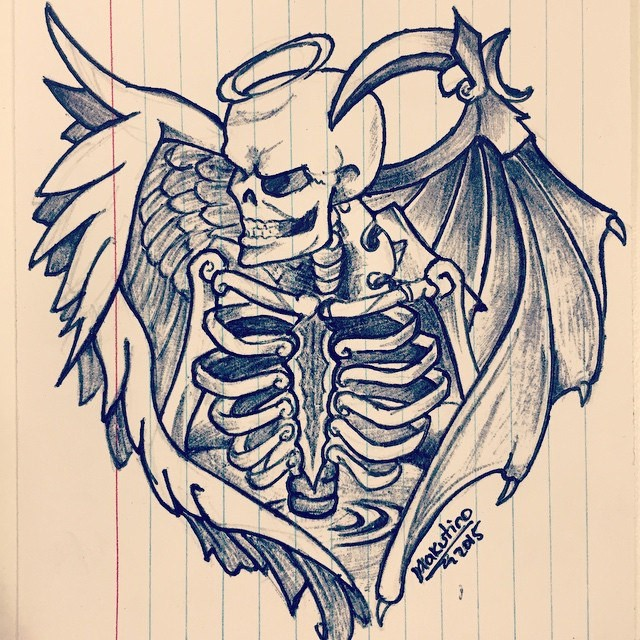 Evil death skeleton with angel wings and a nimbus tattoo design