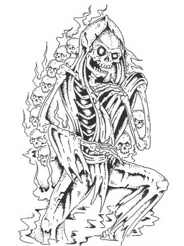 Evil death standing on skulls background tattoo design