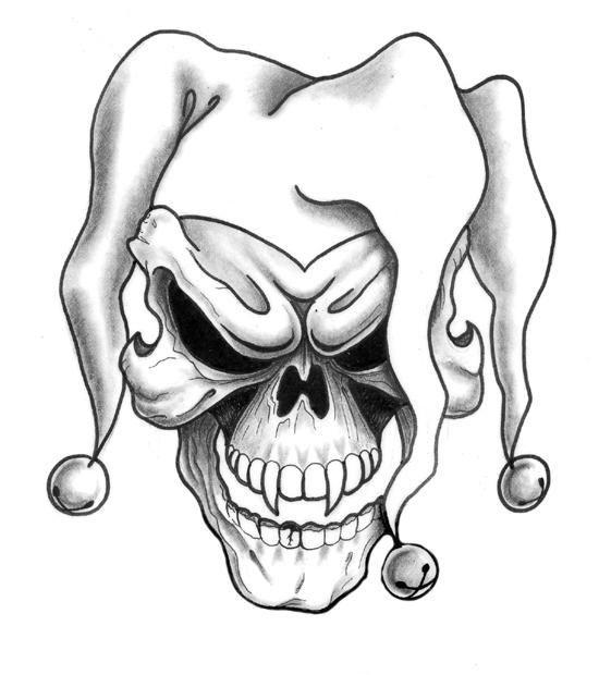Evil demon skull with clawn cap tattoo design