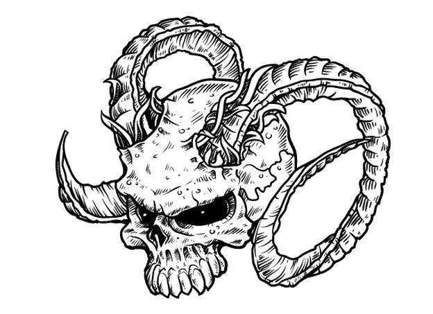 Evil demon skull with ram horns tattoo design