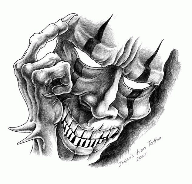 Evil grey-ink demon clawn mask tattoo design