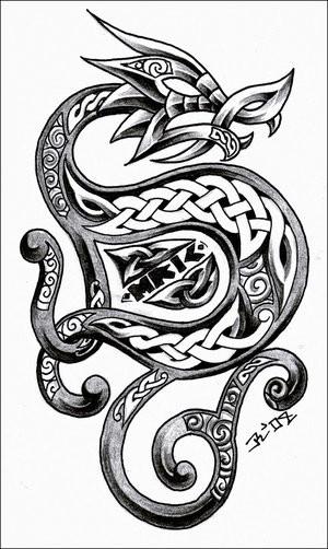 Evil grey celtic-style dragon tattoo design