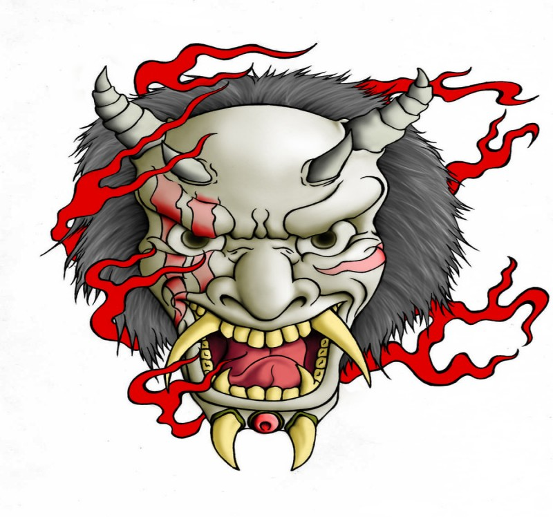 Evil grey devil with sharp teeth and fluffy mane surrounded with red flame tattoo design