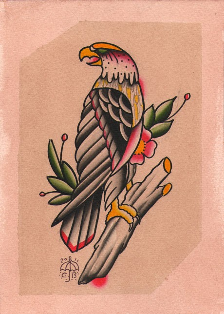 Evil old school eagle sitting on floral branch tattoo design
