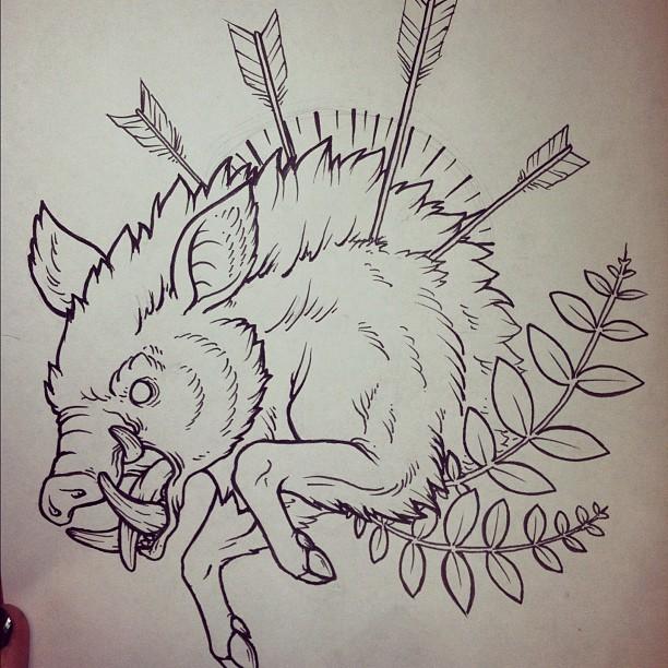 Evil outline boar pig killed with arrows tattoo design
