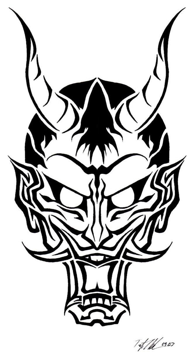 Evil outline devil face tattoo design