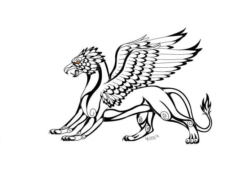 Evil outline griffin with orange eye tattoo design by Hummingbird005