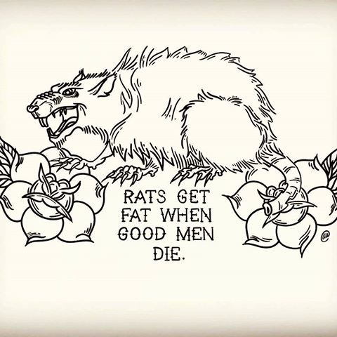 Evil outline rodent with flowers and lettering tattoo design