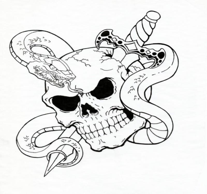 evil outline snake curled around skull pierced with dagger tattoo design. Black Bedroom Furniture Sets. Home Design Ideas
