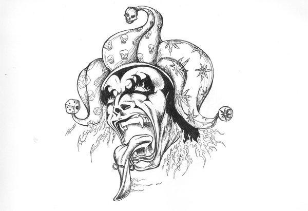 Evil pencilwork demon clawn with a piercing in tongue tattoo design