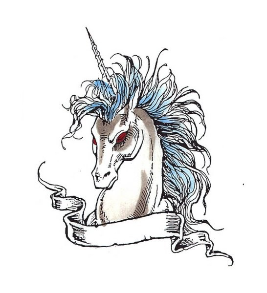 Evil red-eyed unicorn with blue mane and empty banner tattoo design