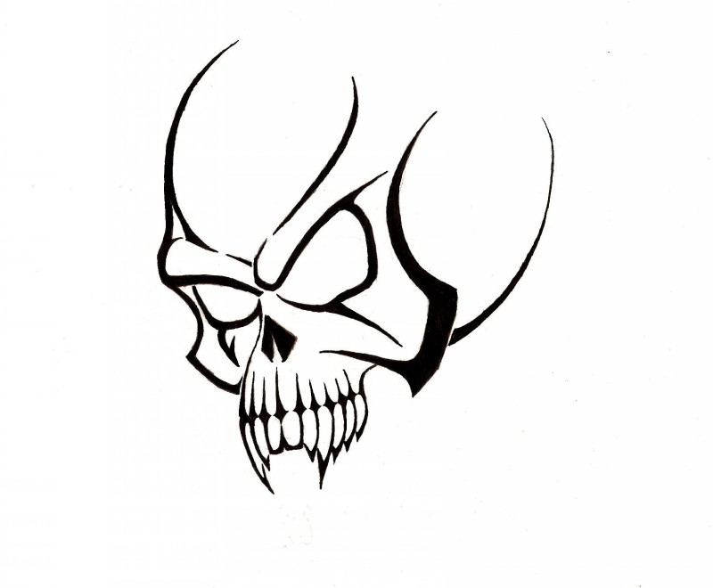 Evil simple black-ink vampire skull tattoo design