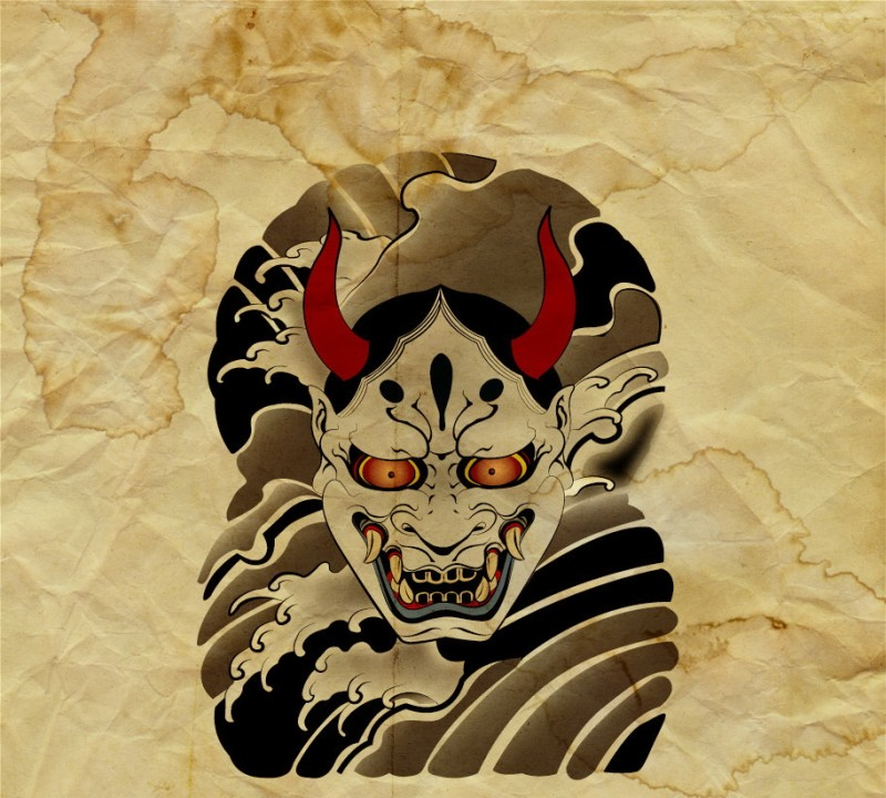 Evil traditional japanese devil face with red horns on wavy background tattoo design