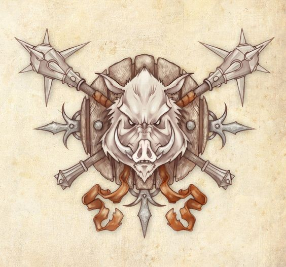 Evil wild pig head with warriors iron weapon tattoo design