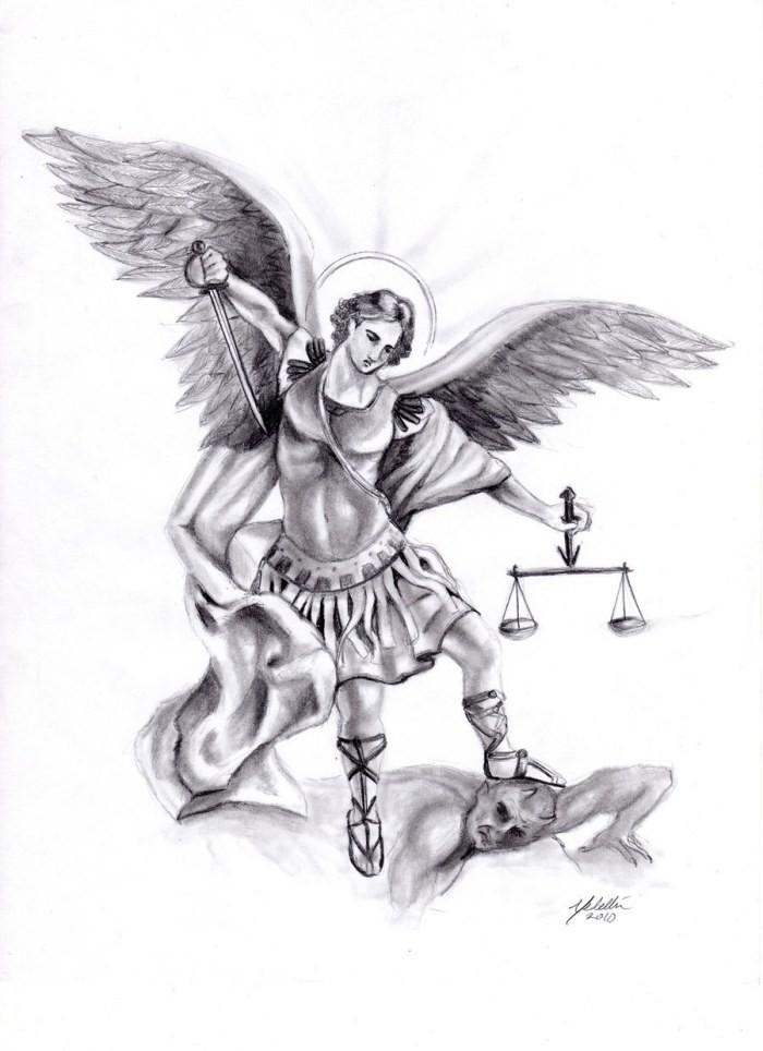 Excellent armoured angel warrior killing a demon tattoo design