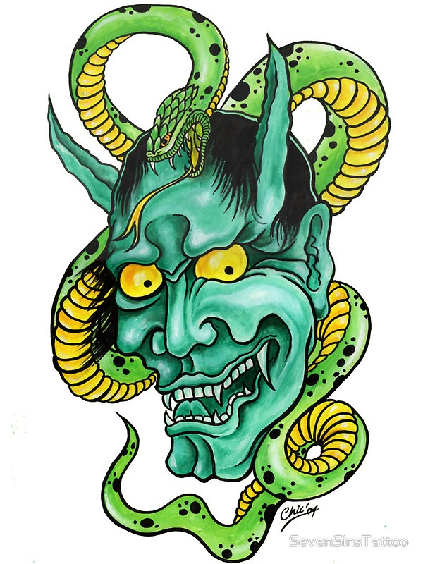 Excellent devil and snake in green-and-yellow colors tattoo design