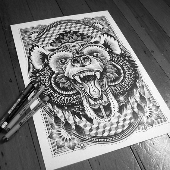 Excellent ornate screaming bear tattoo design