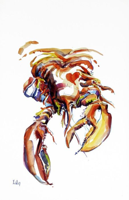 Exhausted crawling watercolor brown crab tattoo design