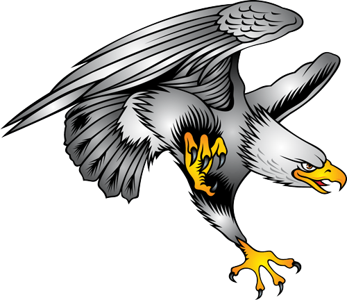 Exiting animated smiling eagle attacking his pray tattoo design
