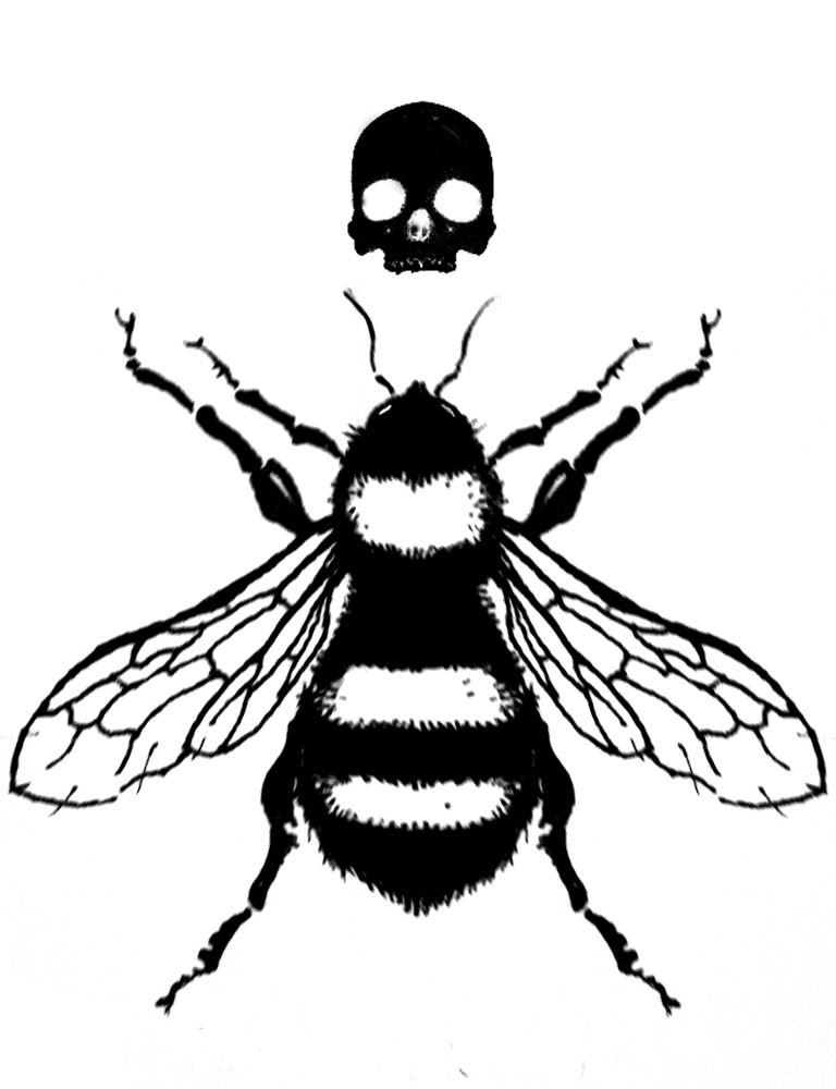 Exiting black-ink bee and small skull tattoo design