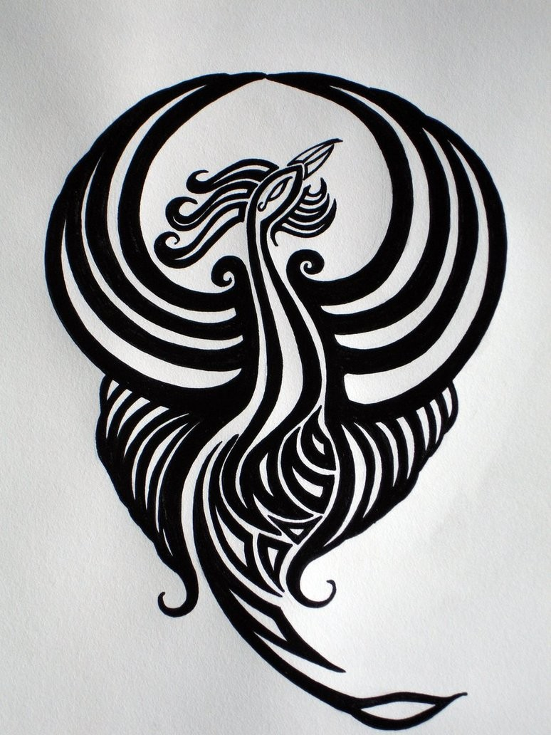 Exiting black-ink phoenix bird logo tattoo design