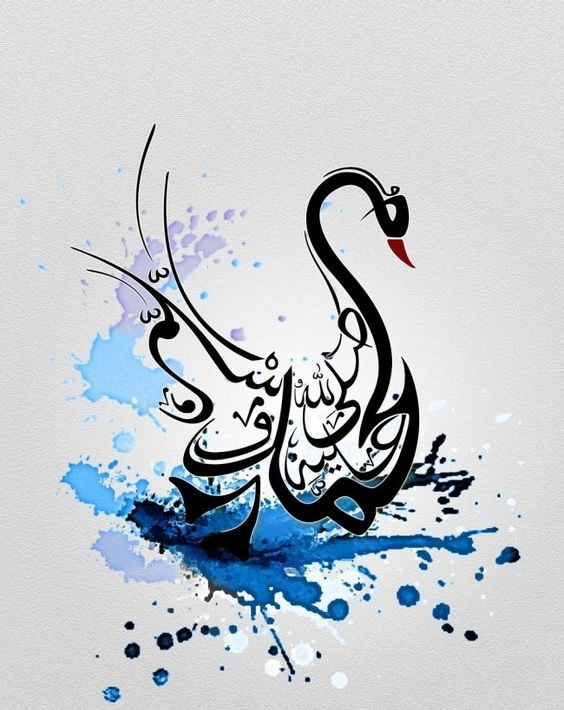 Exiting black-line swan on blue watercolor background tattoo design