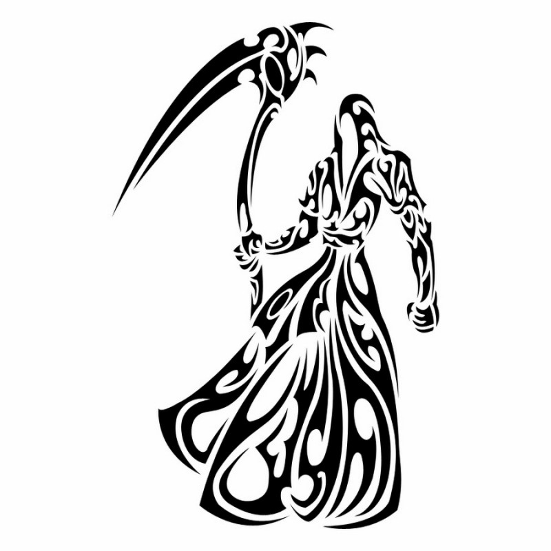 Exiting black tribal style death in a wide mantle tattoo design