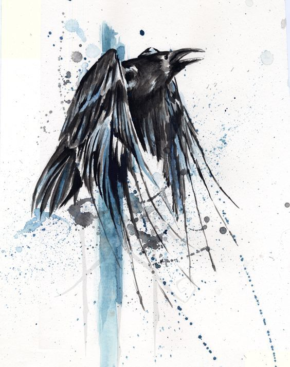 exiting black watercolor raven in blue splashes tattoo