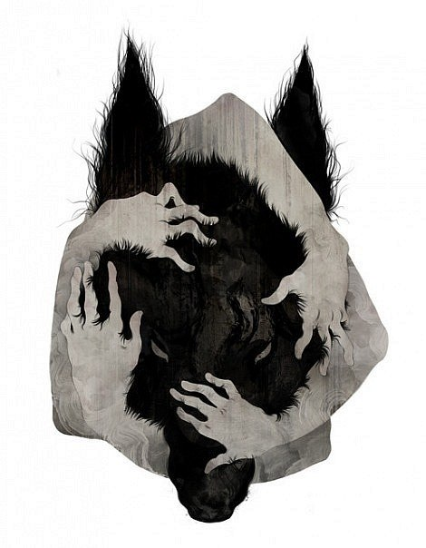 Exiting black wolf head embraced with human hands tattoo design