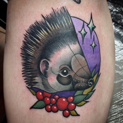 Exiting color-ink heggehog woth berries tattoo