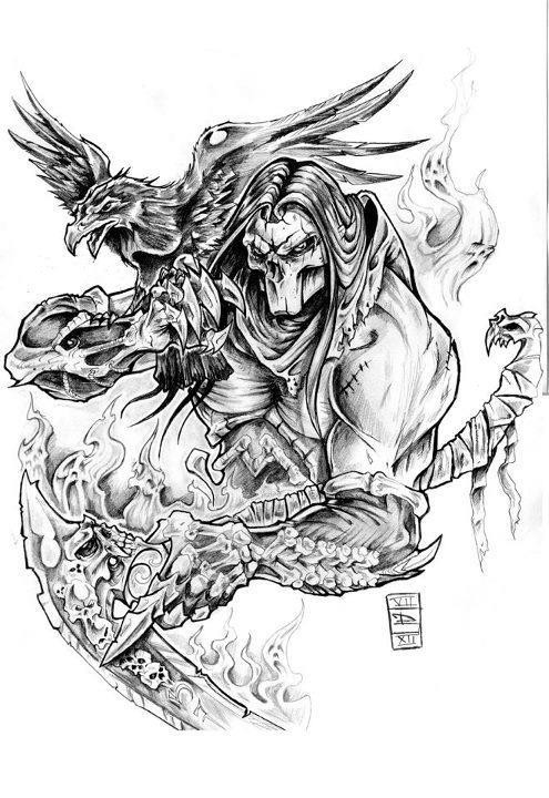 Exiting death warrior with a flying raven tattoo design