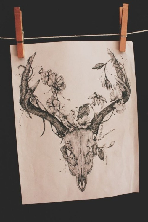 3056dbd52c702 Exiting deer skull with beautiful floral horns tattoo design -  Tattooimages.biz