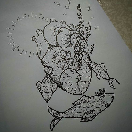 Exiting grey-ink human heart and tiny fishes swimming around tattoo design