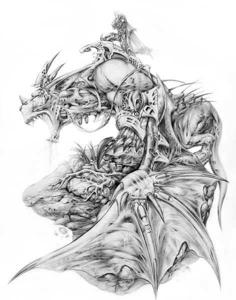 Exiting grey-ink mechanical dragon with tiny warrior on back tattoo design