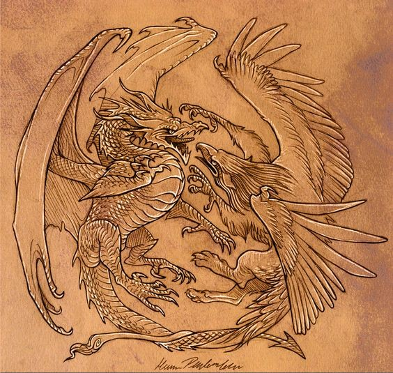Exiting griffin and dragon battle tattoo design