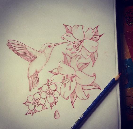 Exiting hummingbird with flowers tattoo design