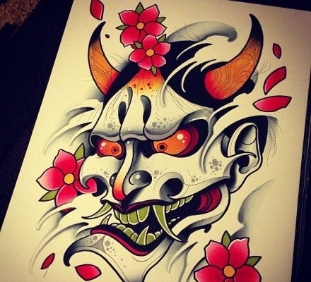 Exiting japanese-style orange-eyed devil and red cherry blossom tattoo design