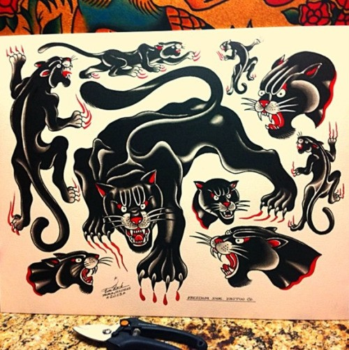 Exiting Old School Style Panther Tattoo Designs
