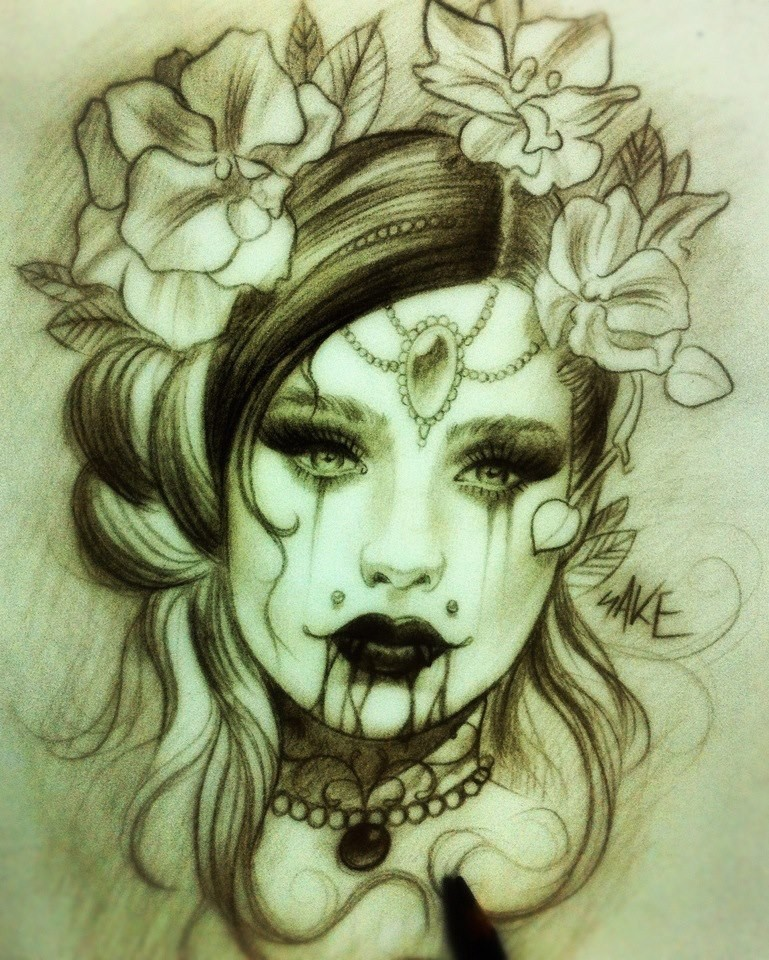 Exiting pencilwork vampire woman with bloody lips and flower-n- gem decorations tattoo design