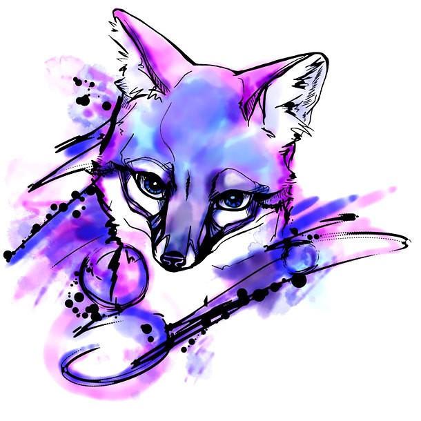 Exiting purple watercolor fox portrait tattoo design
