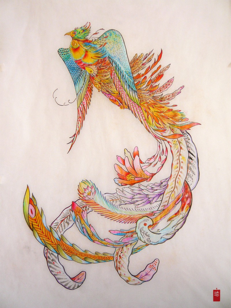Exiting rainbow-colored flying phoenix with extra-long tail tattoo design