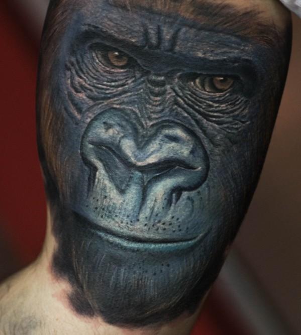 Exiting realistic black gorilla mazzle tattoo