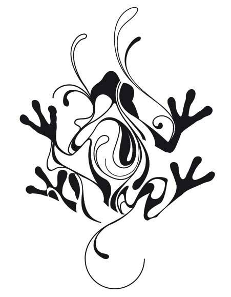 Exiting tribal frog with curls tattoo design