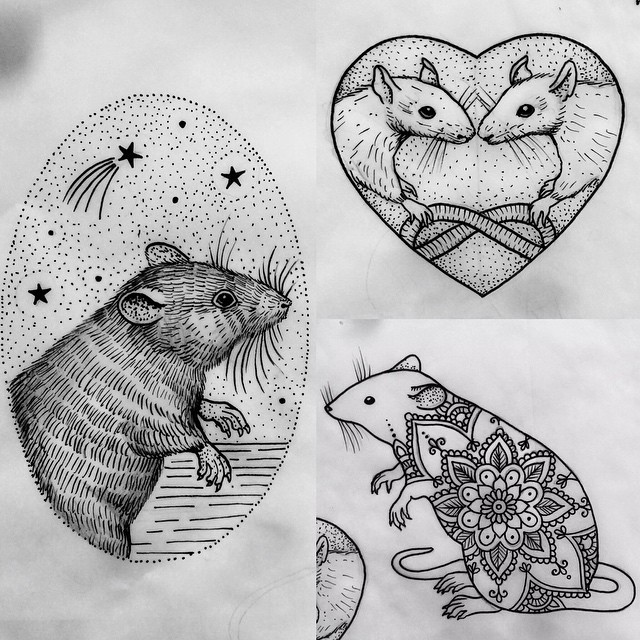 Exiting uncolored mouse with dotwork and mandala decorations tattoo design