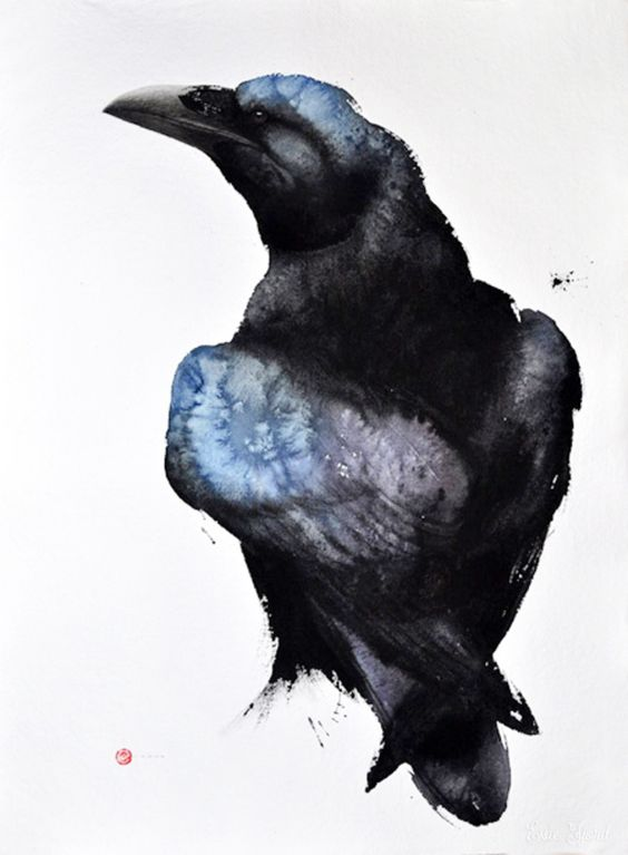 Exiting watercolor raven with blue spots tattoo design